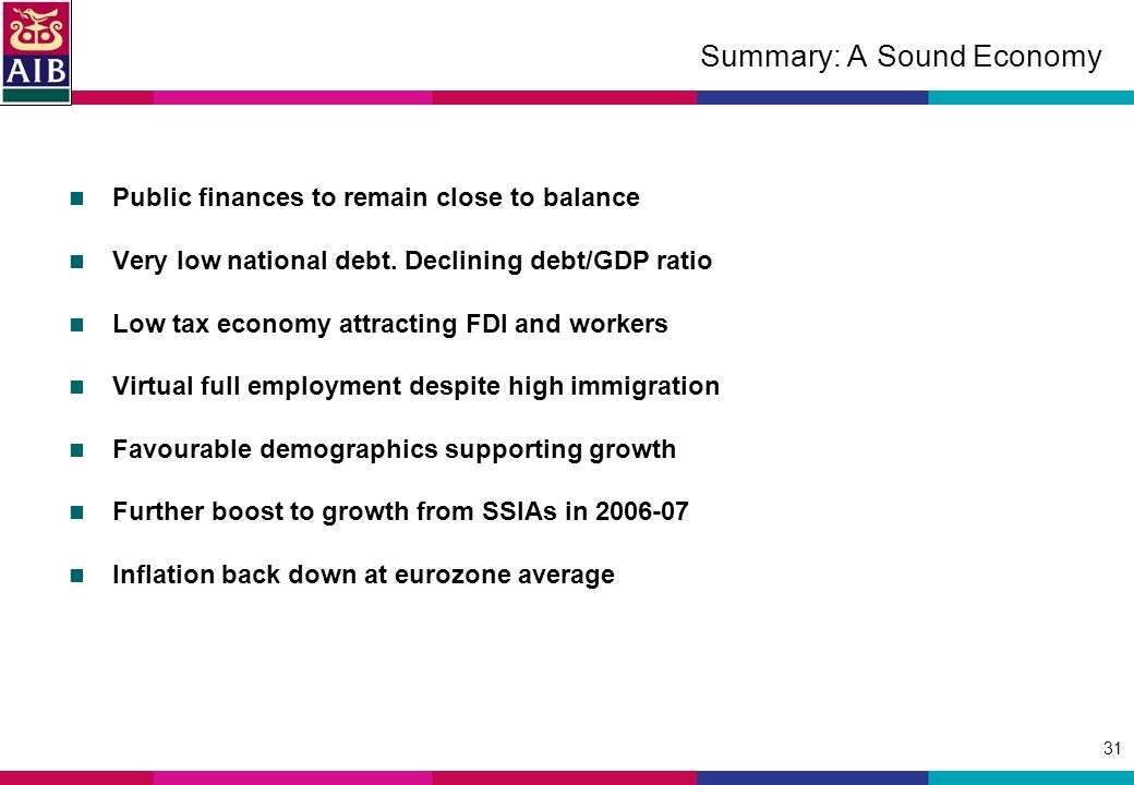 31 Summary: A Sound Economy Public finances to remain close to balance Very low national debt.