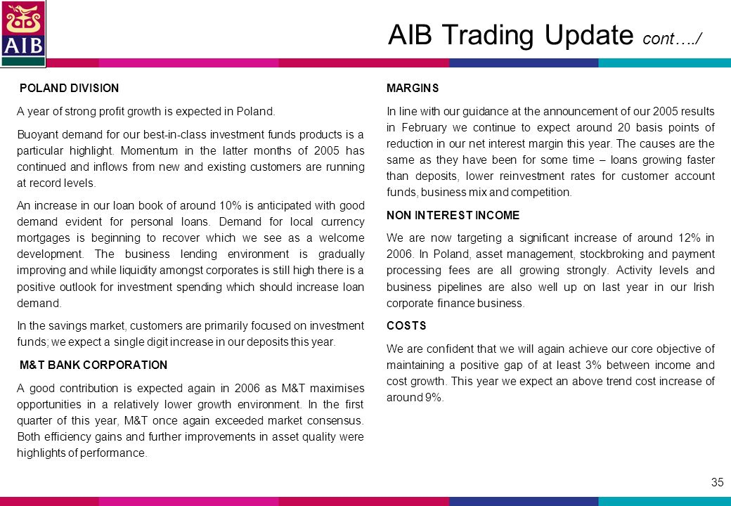 35 AIB Trading Update cont…./ POLAND DIVISION A year of strong profit growth is expected in Poland.