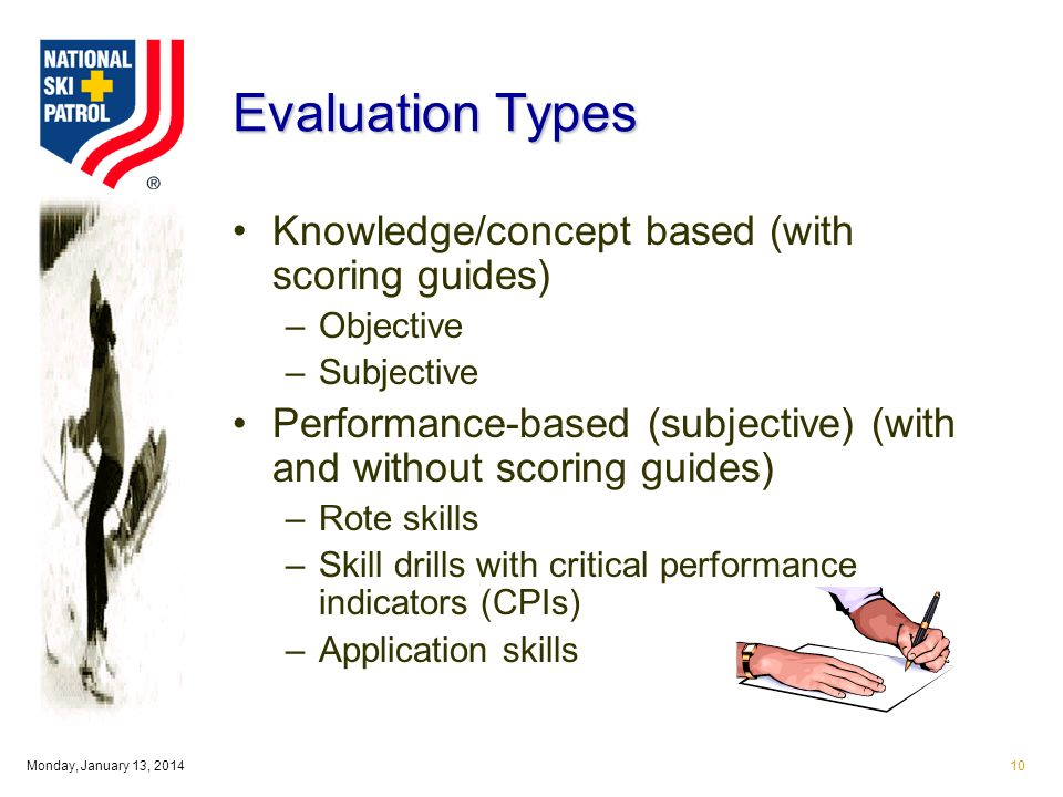Monday, January 13, Evaluation Types Knowledge/concept based (with scoring guides) –Objective –Subjective Performance-based (subjective) (with and without scoring guides) –Rote skills –Skill drills with critical performance indicators (CPIs) –Application skills