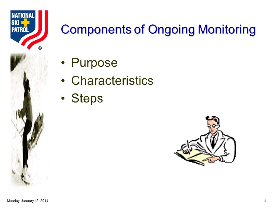 Monday, January 13, Components of Ongoing Monitoring Purpose Characteristics Steps