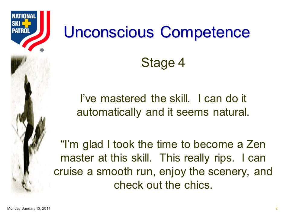 Monday, January 13, Unconscious Competence Stage 4 Ive mastered the skill.