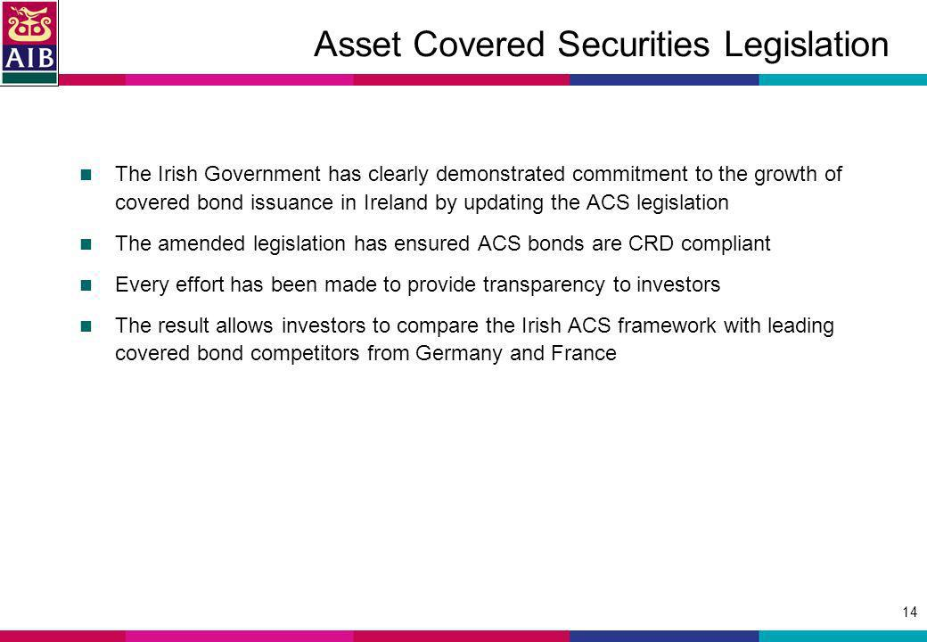 14 Asset Covered Securities Legislation The Irish Government has clearly demonstrated commitment to the growth of covered bond issuance in Ireland by updating the ACS legislation The amended legislation has ensured ACS bonds are CRD compliant Every effort has been made to provide transparency to investors The result allows investors to compare the Irish ACS framework with leading covered bond competitors from Germany and France