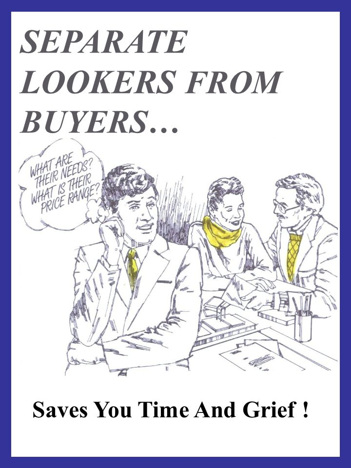 SEPARATE LOOKERS FROM BUYERS… Saves You Time And Grief !