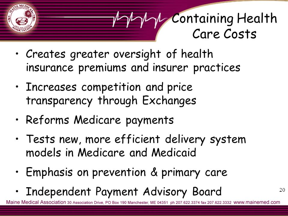 Containing Health Care Costs Creates greater oversight of health insurance premiums and insurer practices Increases competition and price transparency through Exchanges Reforms Medicare payments Tests new, more efficient delivery system models in Medicare and Medicaid Emphasis on prevention & primary care Independent Payment Advisory Board 20