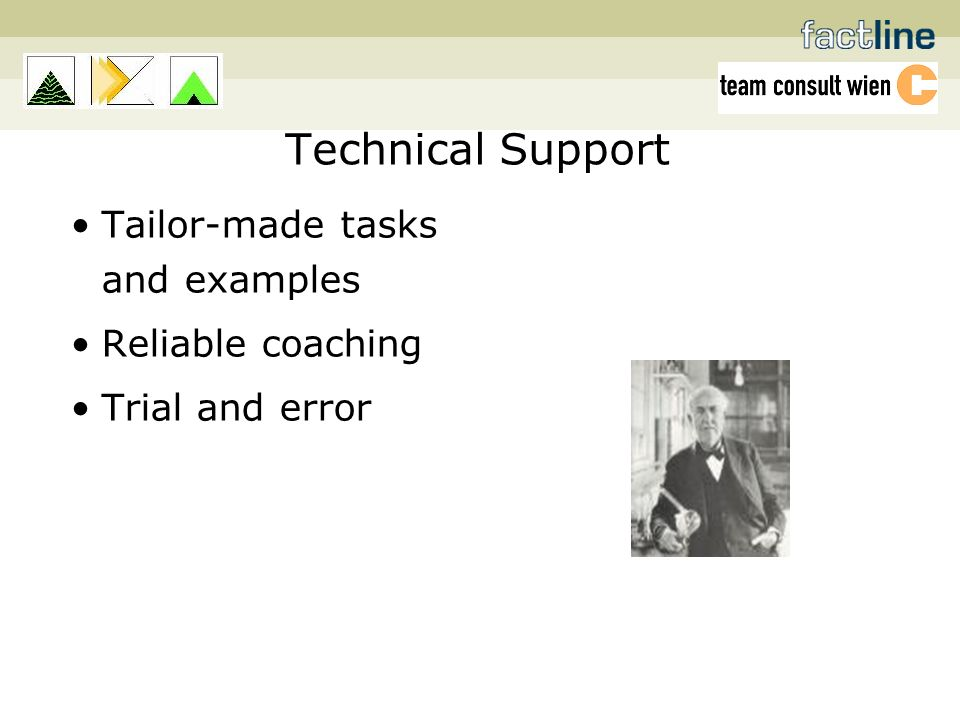 Technical Support Tailor-made tasks and examples Reliable coaching Trial and error