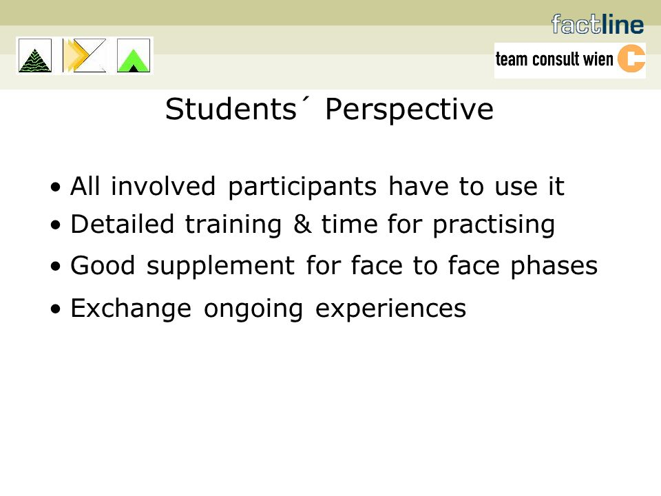 Students´ Perspective All involved participants have to use it Detailed training & time for practising Good supplement for face to face phases Exchange ongoing experiences