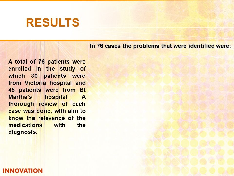 A total of 76 patients were enrolled in the study of which 30 patients were from Victoria hospital and 45 patients were from St Marthas hospital.