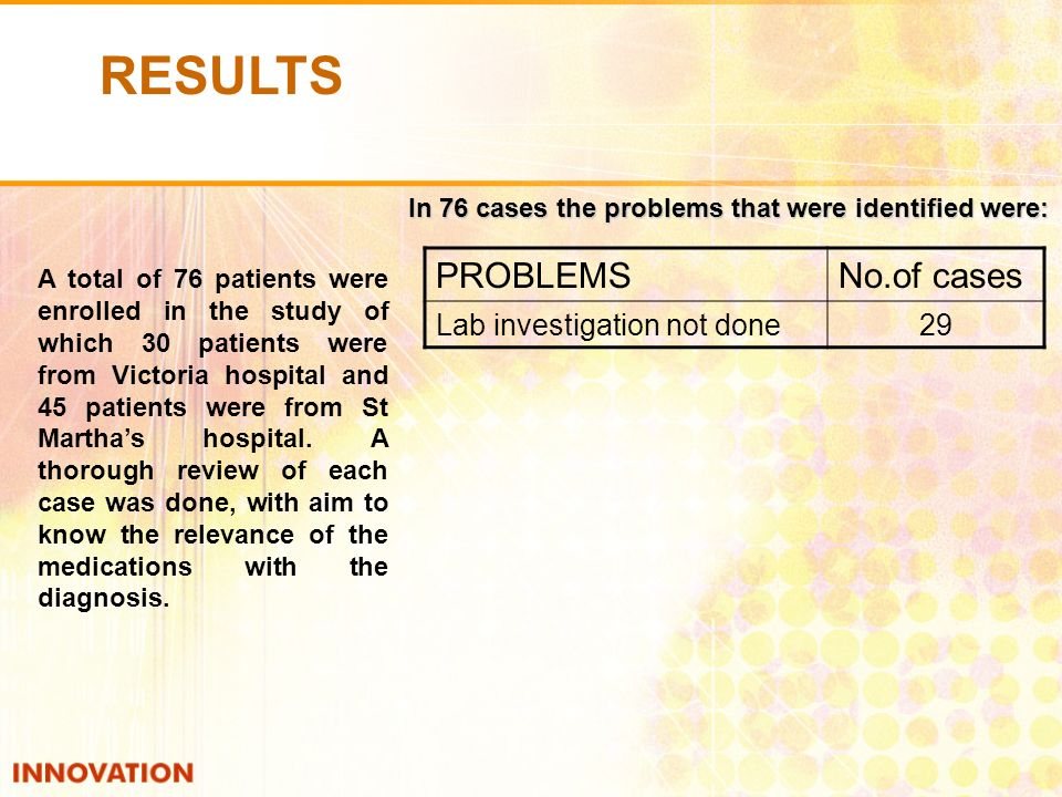 PROBLEMSNo.of cases Lab investigation not done29 A total of 76 patients were enrolled in the study of which 30 patients were from Victoria hospital and 45 patients were from St Marthas hospital.