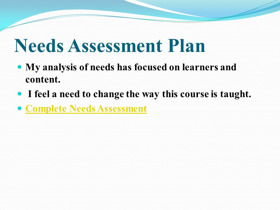 Synopsis Needs Assessment Plan Course Goals Terminal Objectives Prerequisites Instructional Plan Evaluation Plan