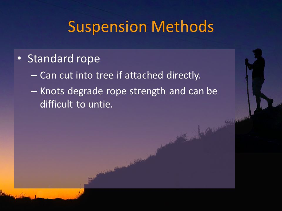 Suspension Methods Standard rope – Can cut into tree if attached directly.