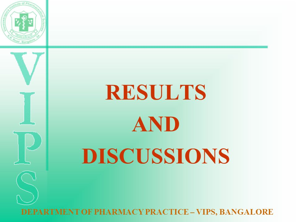 RESULTS AND DISCUSSIONS DEPARTMENT OF PHARMACY PRACTICE – VIPS, BANGALORE