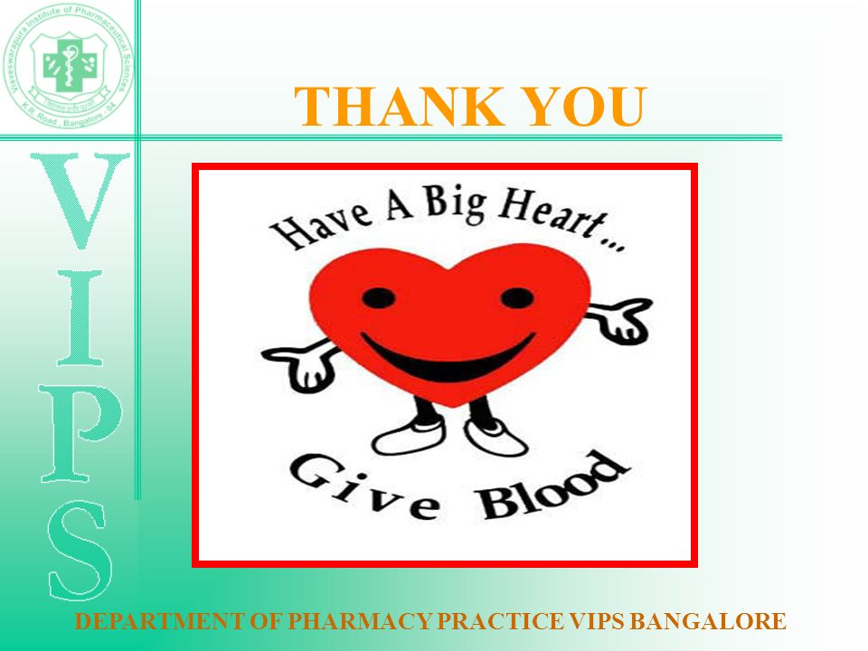 THANK YOU DEPARTMENT OF PHARMACY PRACTICE VIPS BANGALORE