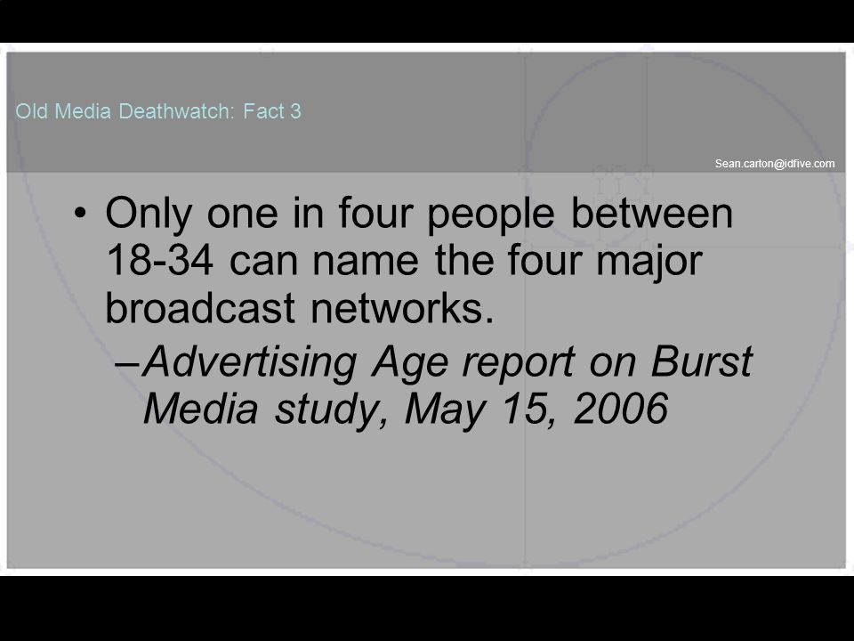 Old Media Deathwatch: Fact 3 Only one in four people between can name the four major broadcast networks.