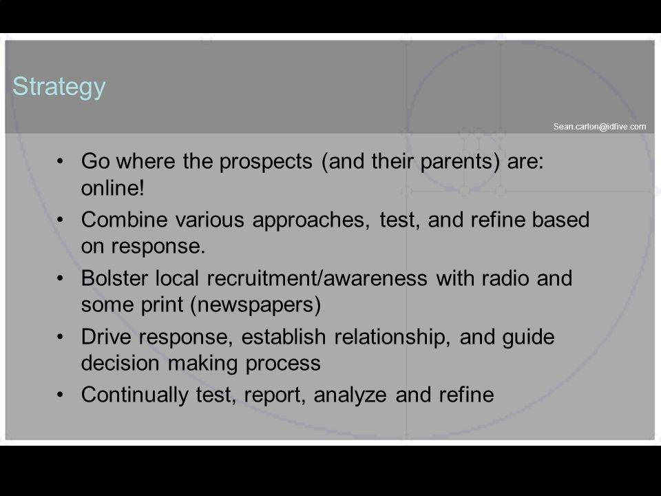 50 Strategy Go where the prospects (and their parents) are: online.