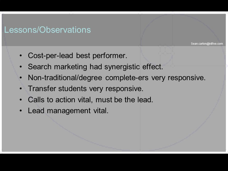 58 Lessons/Observations Cost-per-lead best performer.