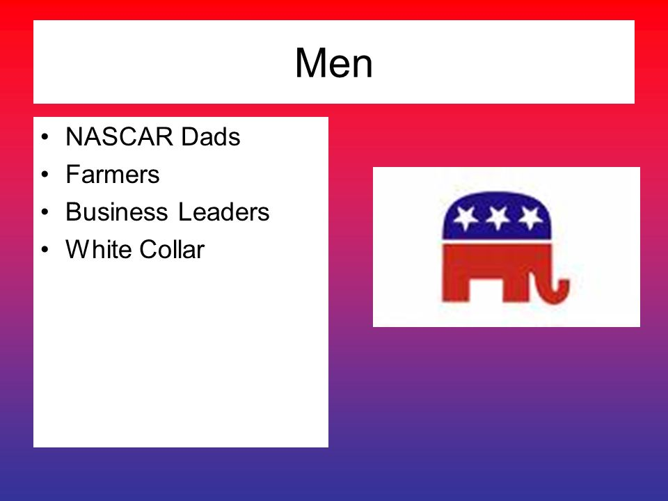 Men NASCAR Dads Farmers Business Leaders White Collar