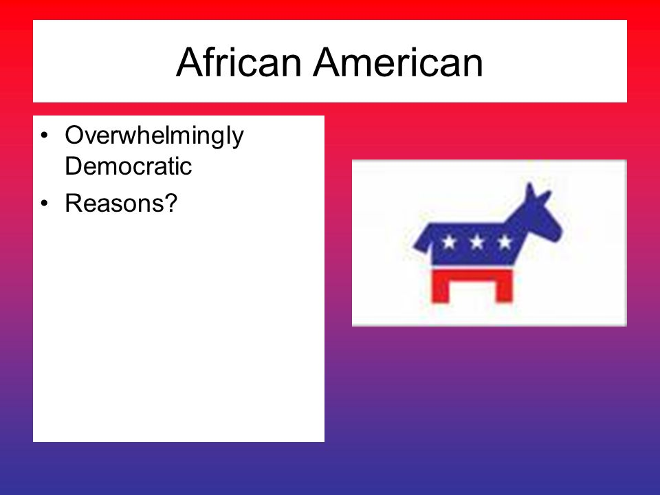 African American Overwhelmingly Democratic Reasons