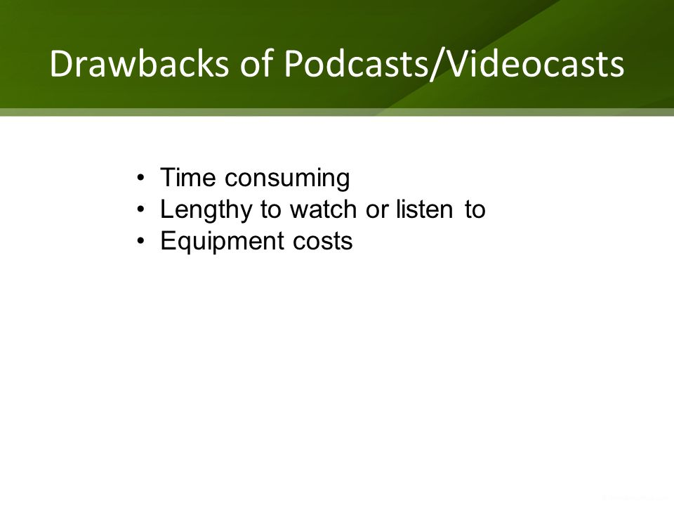 Drawbacks of Podcasts/Videocasts Time consuming Lengthy to watch or listen to Equipment costs