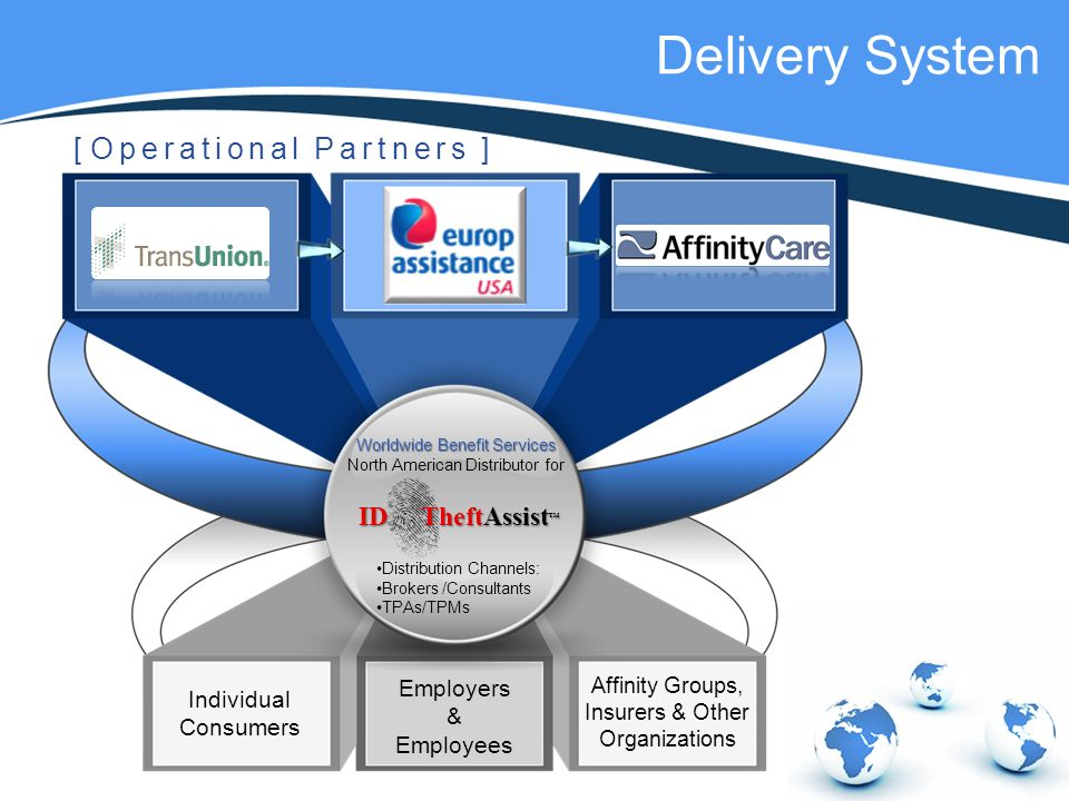 Worldwide Benefit Services North American Distributor for Individual Consumers Employers & Employees Affinity Groups, Insurers & Other Organizations Distribution Channels: Brokers /Consultants TPAs/TPMs [ Operational Partners ] Delivery System