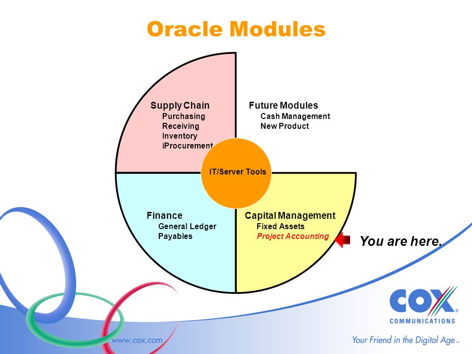 Oracle Modules Capital Management Fixed Assets Project Accounting Supply Chain Purchasing Receiving Inventory iProcurement Finance General Ledger Payables Future Modules Cash Management New Product IT/Server Tools You are here.