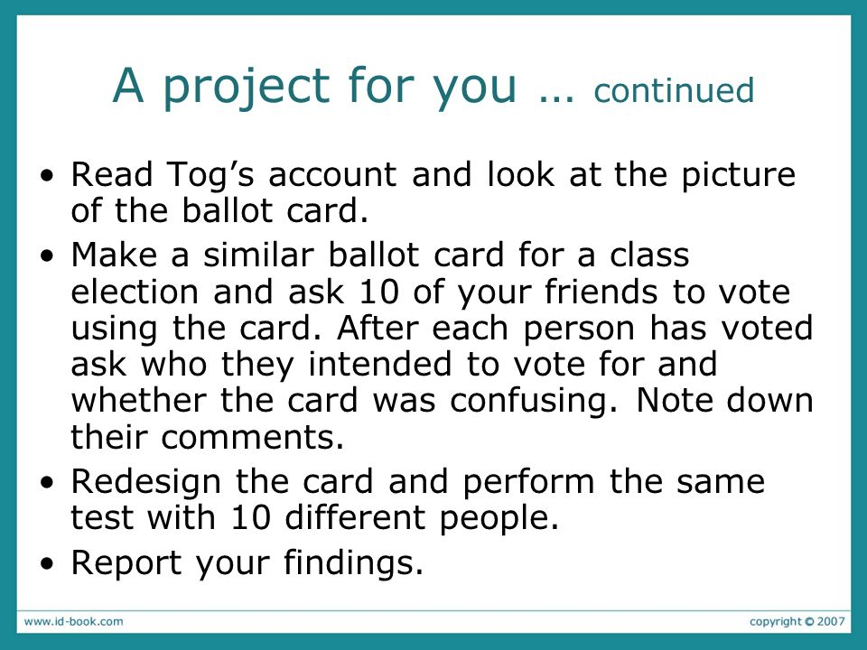 A project for you … continued Read Togs account and look at the picture of the ballot card.