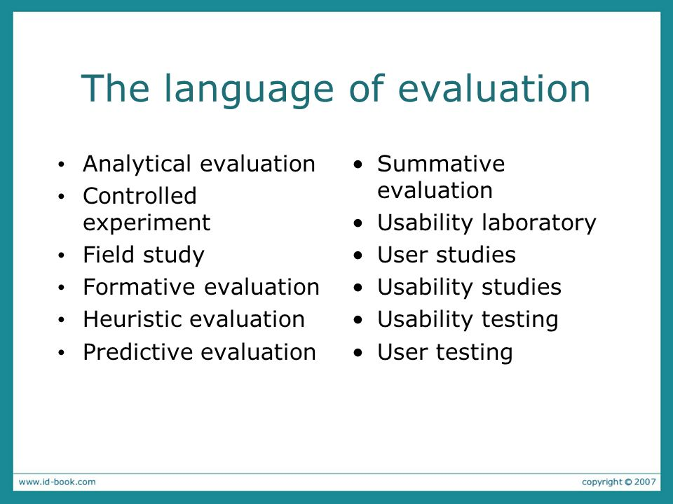 The language of evaluation Analytical evaluation Controlled experiment Field study Formative evaluation Heuristic evaluation Predictive evaluation Summative evaluation Usability laboratory User studies Usability studies Usability testing User testing