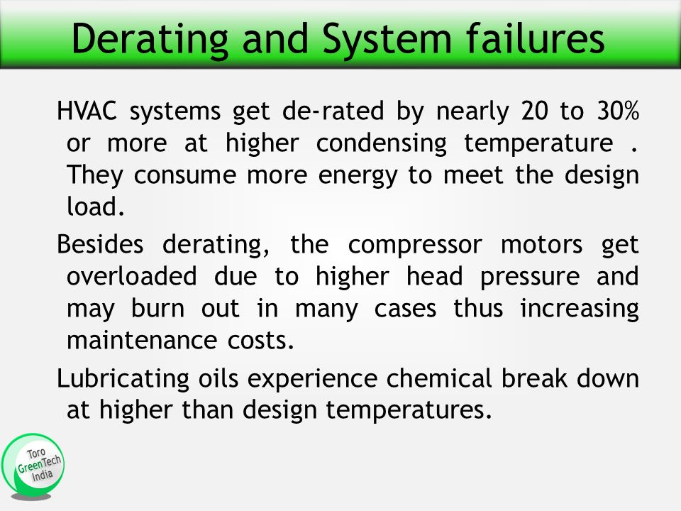 Derating and System failures HVAC systems get de-rated by nearly 20 to 30% or more at higher condensing temperature.