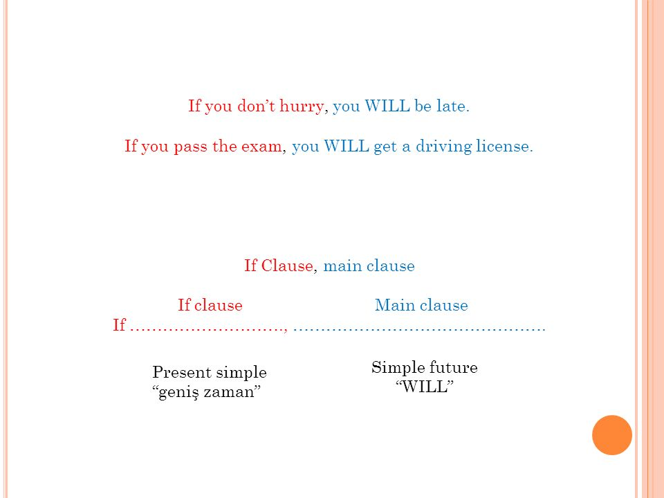 If you dont hurry, you WILL be late. If you pass the exam, you WILL get a driving license.