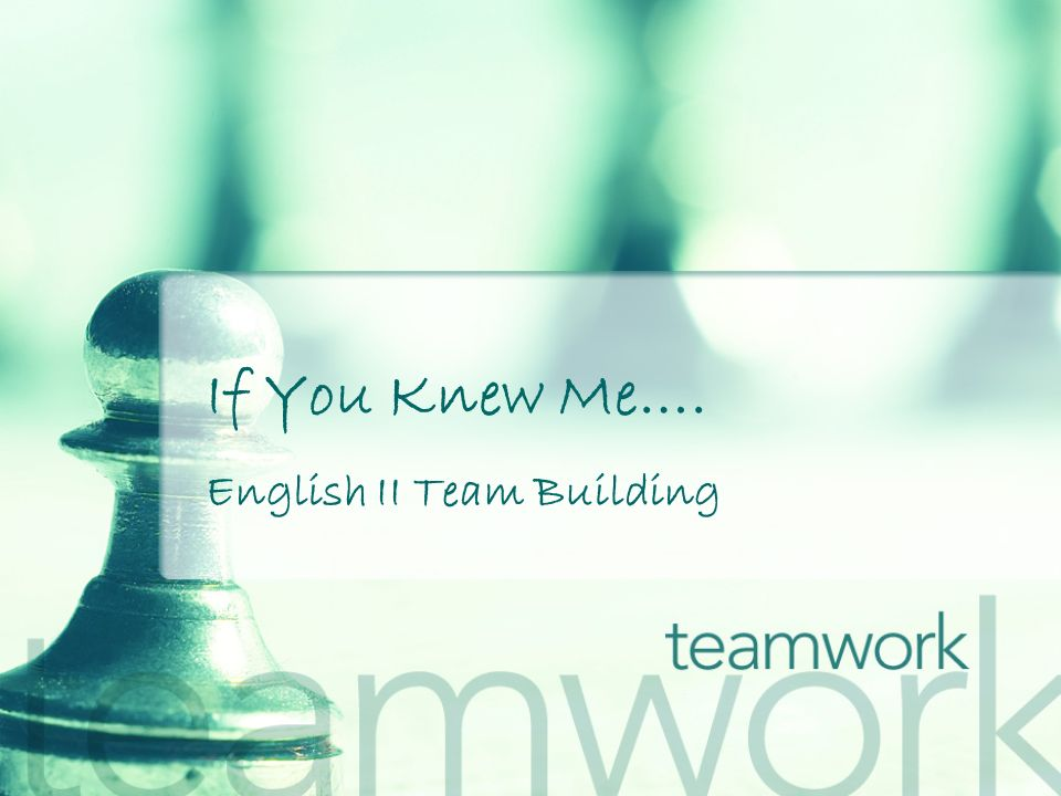 If You Knew Me…. English II Team Building