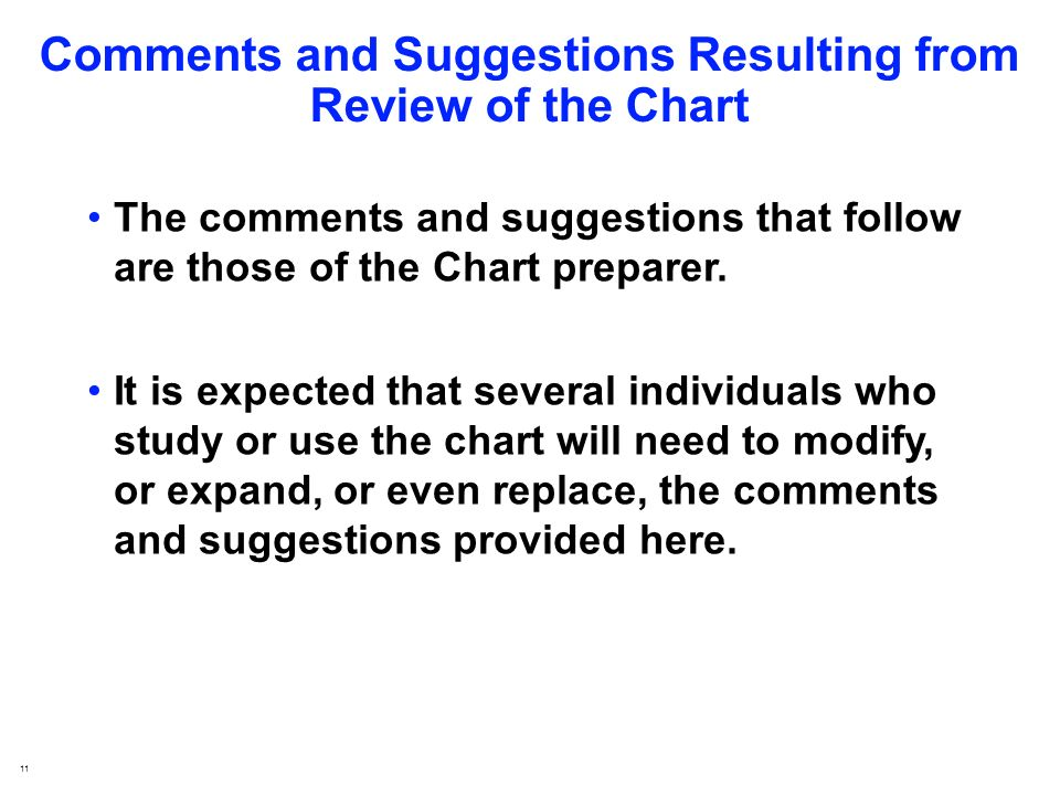 11 Comments and Suggestions Resulting from Review of the Chart The comments and suggestions that follow are those of the Chart preparer.
