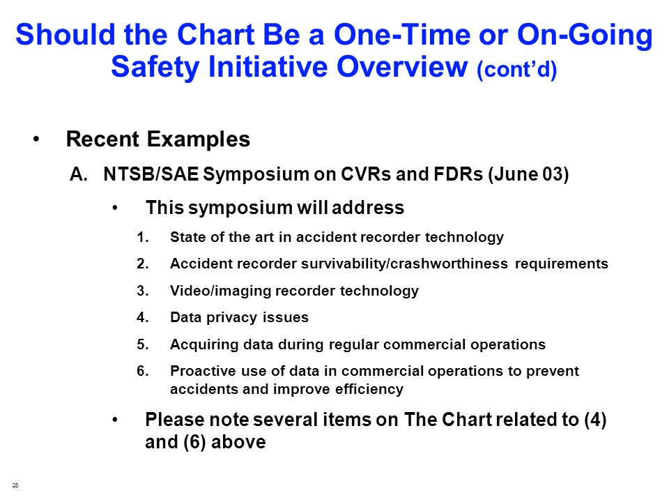 28 Should the Chart Be a One-Time or On-Going Safety Initiative Overview (contd) Recent Examples A.NTSB/SAE Symposium on CVRs and FDRs (June 03) This symposium will address 1.State of the art in accident recorder technology 2.Accident recorder survivability/crashworthiness requirements 3.Video/imaging recorder technology 4.Data privacy issues 5.Acquiring data during regular commercial operations 6.Proactive use of data in commercial operations to prevent accidents and improve efficiency Please note several items on The Chart related to (4) and (6) above