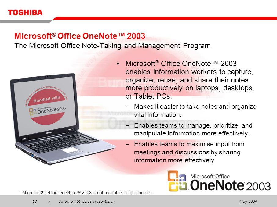 May 200413/Satellite A50 sales presentation13 Microsoft ® Office OneNote 2003 The Microsoft Office Note-Taking and Management Program Microsoft ® Office OneNote 2003 enables information workers to capture, organize, reuse, and share their notes more productively on laptops, desktops, or Tablet PCs: –Makes it easier to take notes and organize vital information.