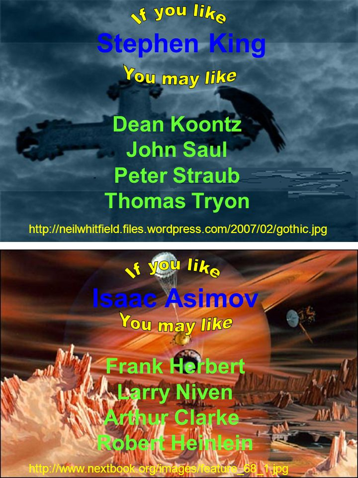 Isaac Asimov Frank Herbert Larry Niven Arthur Clarke Robert Heinlein http://www.nextbook.org/images/feature_68_1.jpg Stephen King Dean Koontz John Saul Peter Straub Thomas Tryon http://neilwhitfield.files.wordpress.com/2007/02/gothic.jpg