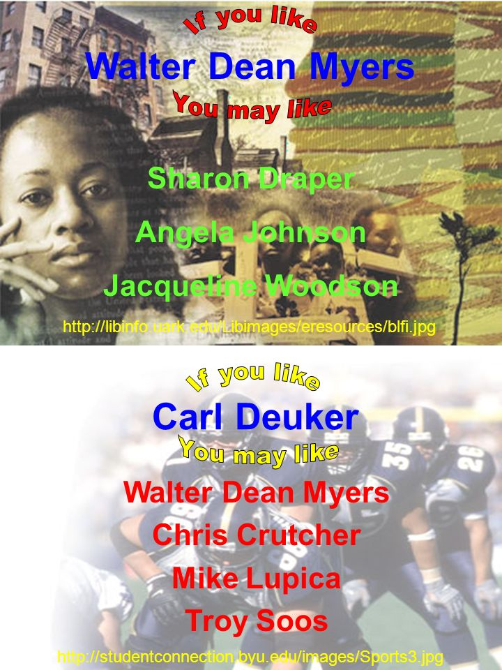 Walter Dean Myers Sharon Draper Angela Johnson Jacqueline Woodson http://libinfo.uark.edu/Libimages/eresources/blfi.jpg Carl Deuker Walter Dean Myers Chris Crutcher Mike Lupica Troy Soos http://studentconnection.byu.edu/images/Sports3.jpg