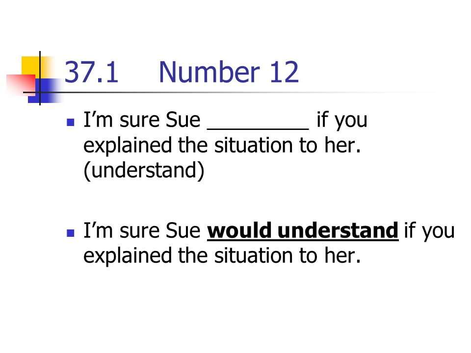 37.1Number 12 Im sure Sue _________ if you explained the situation to her.