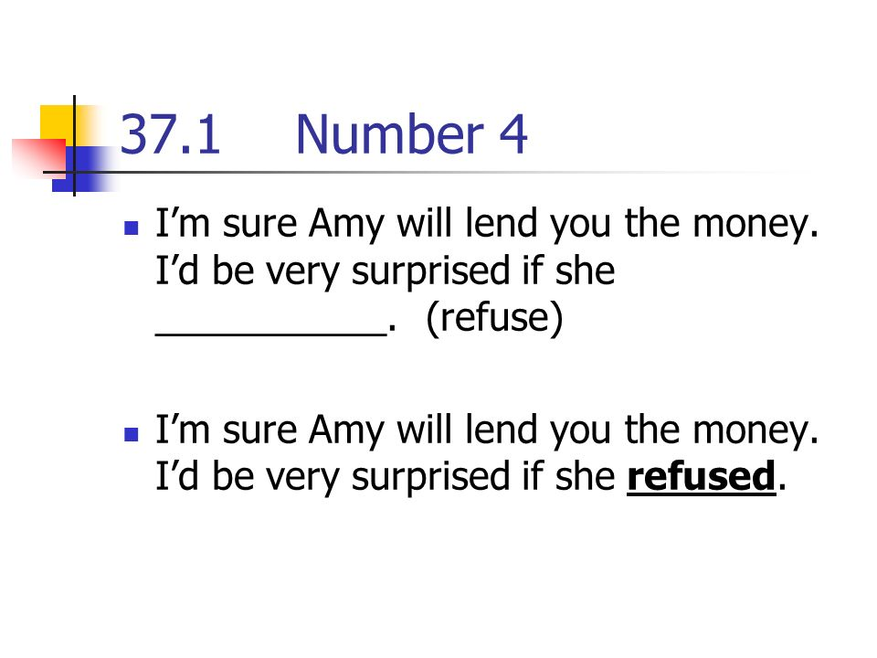 37.1Number 4 Im sure Amy will lend you the money. Id be very surprised if she ___________.