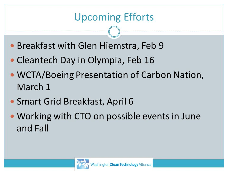 Upcoming Efforts Breakfast with Glen Hiemstra, Feb 9 Cleantech Day in Olympia, Feb 16 WCTA/Boeing Presentation of Carbon Nation, March 1 Smart Grid Breakfast, April 6 Working with CTO on possible events in June and Fall