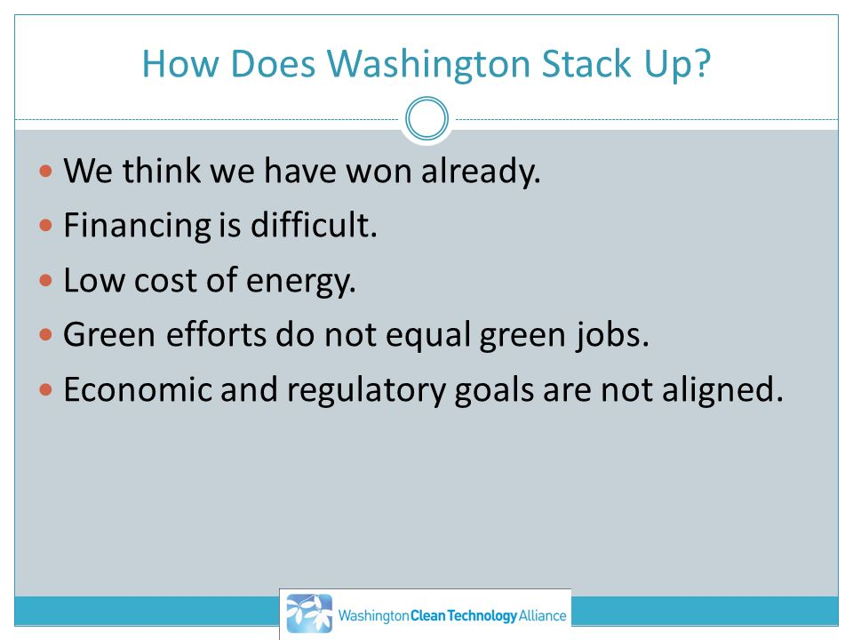 How Does Washington Stack Up. We think we have won already.