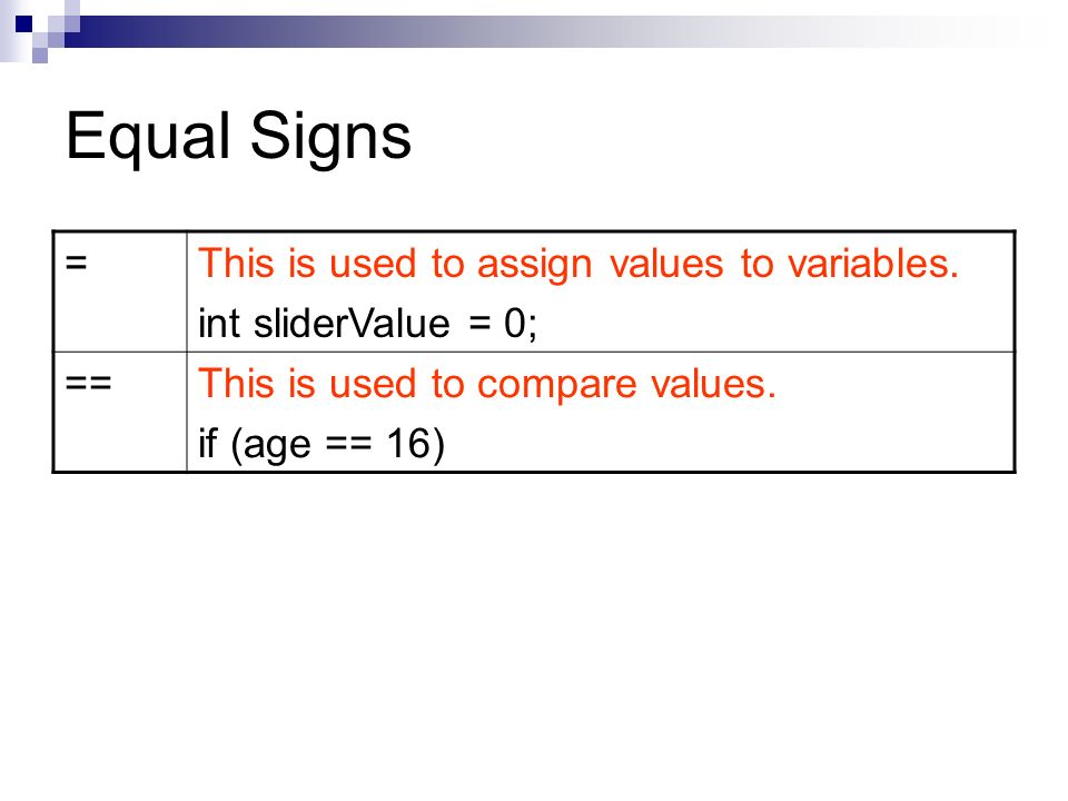 Equal Signs =This is used to assign values to variables.