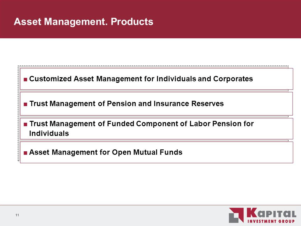 11 Customized Asset Management for Individuals and Corporates Trust Management of Pension and Insurance Reserves Trust Management of Funded Component of Labor Pension for Individuals Asset Management for Open Mutual Funds Asset Management.