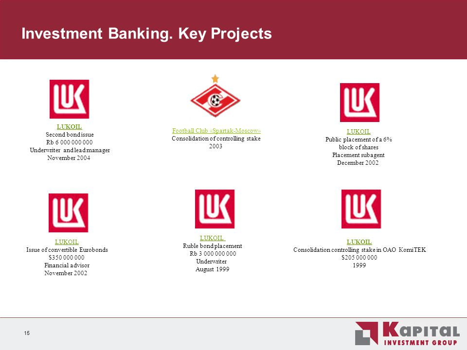 15 Investment Banking.