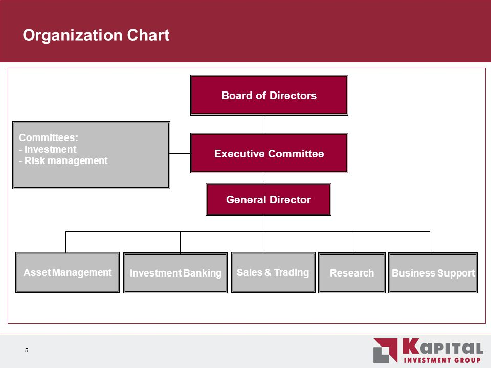 5 Organization Chart Board of Directors Sales & Trading Investment BankingBusiness Support General Director Asset Management Executive Committee Committees: - Investment - Risk management Research
