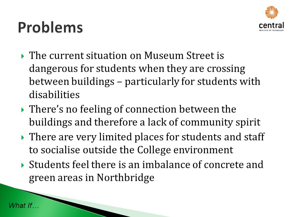 The current situation on Museum Street is dangerous for students when they are crossing between buildings – particularly for students with disabilities Theres no feeling of connection between the buildings and therefore a lack of community spirit There are very limited places for students and staff to socialise outside the College environment Students feel there is an imbalance of concrete and green areas in Northbridge What If…