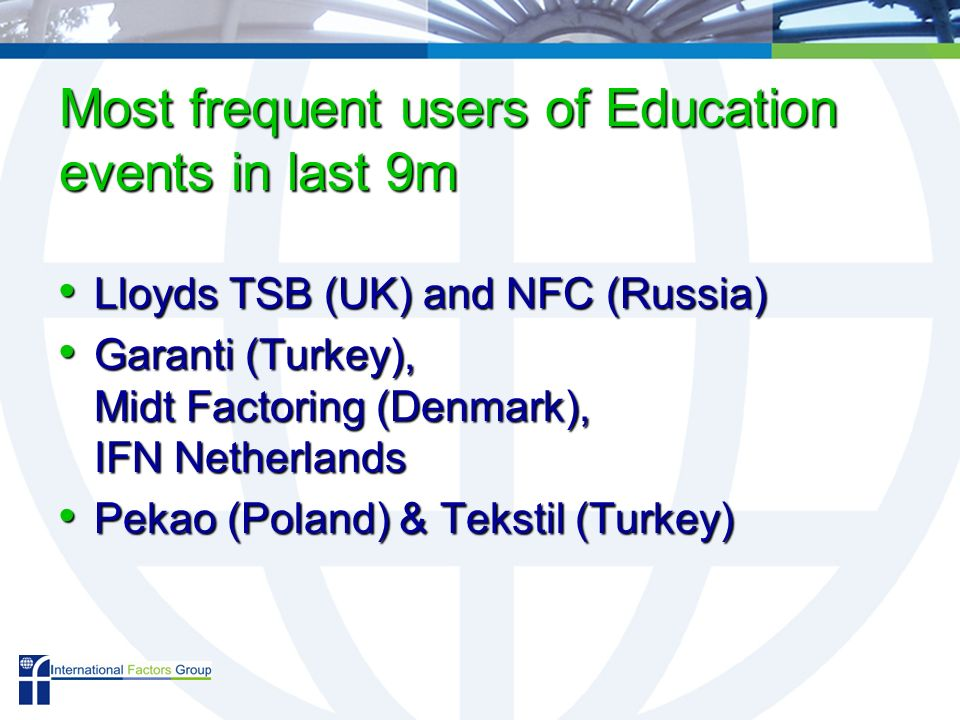 Most frequent users of Education events in last 9m Lloyds TSB (UK) and NFC (Russia) Lloyds TSB (UK) and NFC (Russia) Garanti (Turkey), Midt Factoring (Denmark), IFN Netherlands Garanti (Turkey), Midt Factoring (Denmark), IFN Netherlands Pekao (Poland) & Tekstil (Turkey) Pekao (Poland) & Tekstil (Turkey)