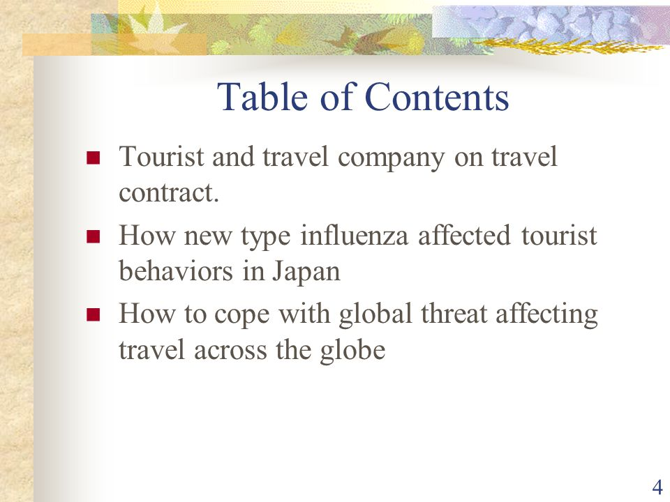 4 Table of Contents Tourist and travel company on travel contract.