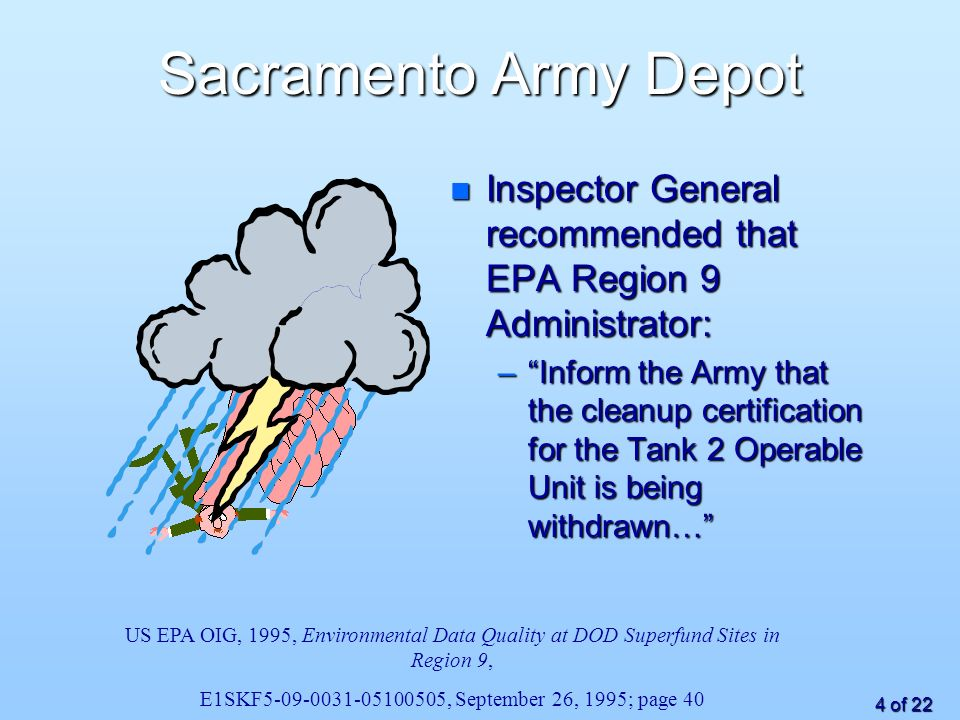 4 of 22 Sacramento Army Depot n Inspector General recommended that EPA Region 9 Administrator: –Inform the Army that the cleanup certification for the Tank 2 Operable Unit is being withdrawn… US EPA OIG, 1995, Environmental Data Quality at DOD Superfund Sites in Region 9, E1SKF , September 26, 1995; page 40