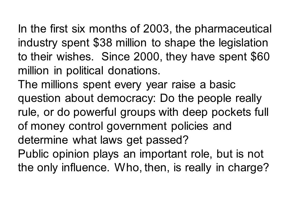 In the first six months of 2003, the pharmaceutical industry spent $38 million to shape the legislation to their wishes.