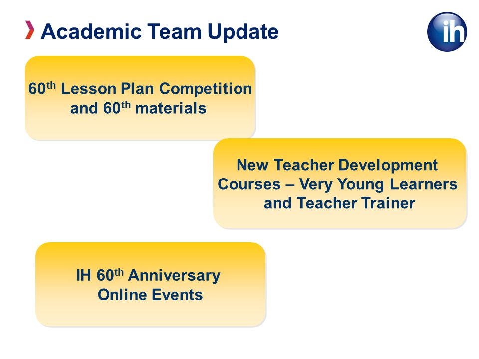 Academic Team Update 60 th Lesson Plan Competition and 60 th materials 60 th Lesson Plan Competition and 60 th materials New Teacher Development Courses – Very Young Learners and Teacher Trainer New Teacher Development Courses – Very Young Learners and Teacher Trainer IH 60 th Anniversary Online Events IH 60 th Anniversary Online Events