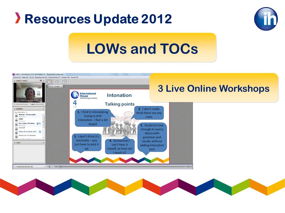 Resources Update 2012 LOWs and TOCs 3 Live Online Workshops