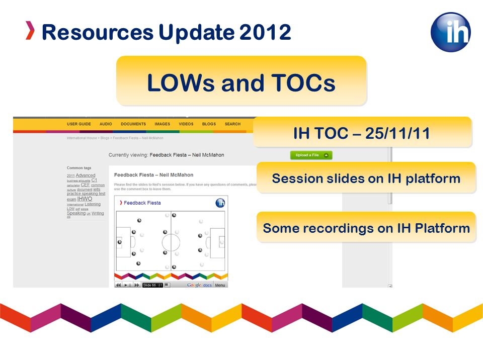 Resources Update 2012 LOWs and TOCs IH TOC – 25/11/11 Some recordings on IH Platform Session slides on IH platform